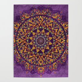 Multi-Coloured Patterned Mandala On A Purple Textured Background Poster