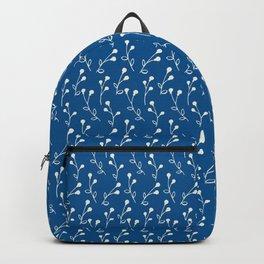 Doodle flowers on blue Backpack