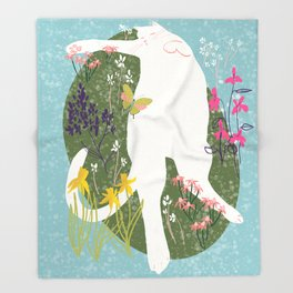 Cat Sleeping in Garden Illustration  Throw Blanket