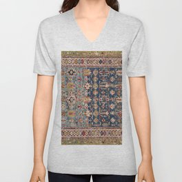 Dusty Blue Green Kuba 19th Century Authentic Colorful Yellow Bands Vintage Patterns Unisex V-Neck