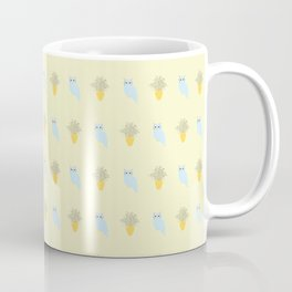 Owl and Olive Plants Pattern, yellow Coffee Mug