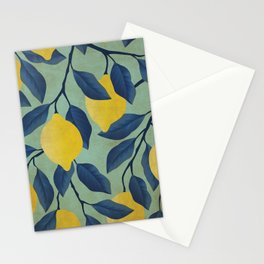 Vintage Lemon Branches on Mint Stationery Cards