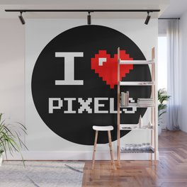 I Love Pixels, Pixel Heart, nerd sticker, geek sticker Wall Mural