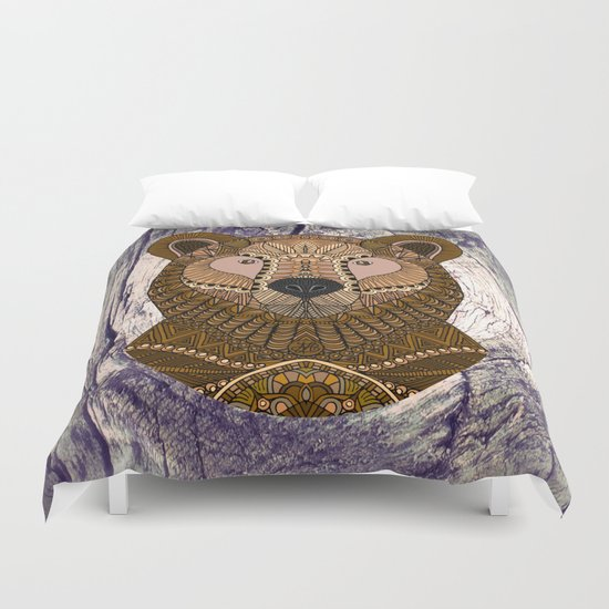 Ornate Brown Bear Duvet Cover