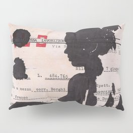 Emma - ink drawing over vintage commercial invoice Pillow Sham
