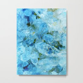 Aqua Blue Geode Crystal Metal Print
