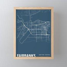 Fairbanks Blueprint Street Map, Fairbanks Colour Map Prints Framed Mini Art Print