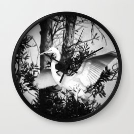 Great Egret In The Trees Wall Clock