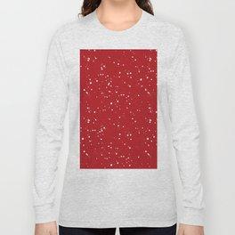 Red white Christmas  polka dots snow pattern Long Sleeve T-shirt