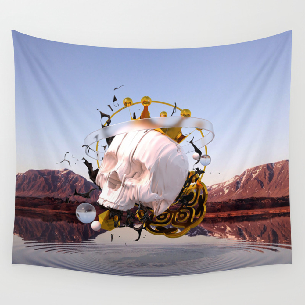 3d Abstract - Gold - Glass - Oil - Porcelain Wall Tapestry by Pierakiskimonos TPS6907801