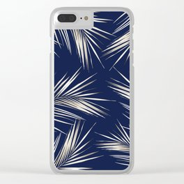 White Gold Palm Leaves on Navy Blue Clear iPhone Case