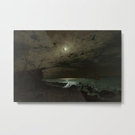 The Far Place Under Moonlight landscape painting by Magnus Munsterhjelm Metal Print