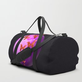 Violet Flower Bud With Apollo Butterflies Illustration On A Black Background #decor #society6 Duffle Bag