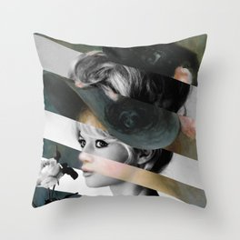 Renoir's Young Girl in a Pink and Black Hat & Brigitte Bardot  Throw Pillow