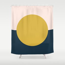 Horizon. Mustard Yellow Sun Dot on Pale Blush Pink and Navy Blue Color Block. Minimalist Geometric Shower Curtain