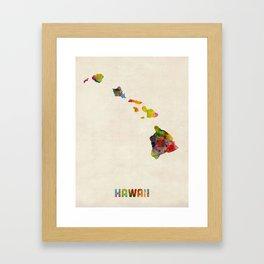 Hawaii Watercolor Map Framed Art Print