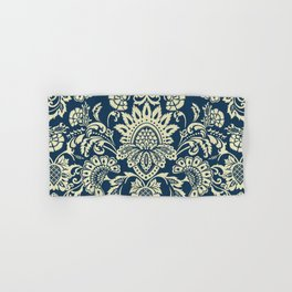 damask in white and blue vintage Hand & Bath Towel