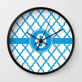 Blue Monogram: Letter O Wall Clock