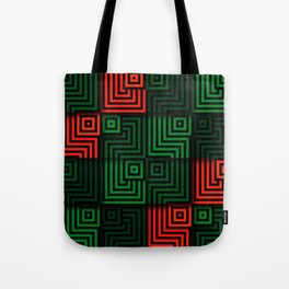 Red and green tiles with op art squares and corners Tote Bag