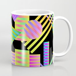 Neon Ombre 90's Striped Shapes Coffee Mug
