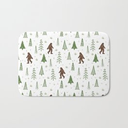 trees + yeti pattern in color Bath Mat