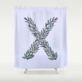 Leafy Letter X Shower Curtain