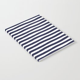 Navy Blue and White Horizontal Stripes Notebook