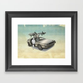 Stormtrooper in a DeLorean - waiting for the car club Framed Art Print