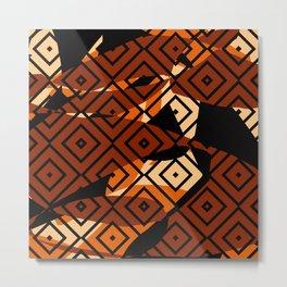 Pattern Formes Géométriques Marron/Noir/Beige Metal Print