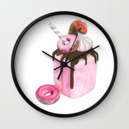 Strawberry milkshake,Pink milkshake,Donuts,Sweets art,Watercolor art,Pink art,Dessert Wall Clock