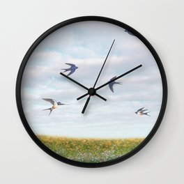 barn swallows, day lilies, and chicory Wall Clock