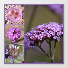 Purple Violet Pink Flowers Collage Canvas Print