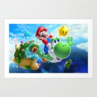 yoshi Art Prints featuring yoshi by Just Be Love