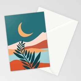 Moonlit Mediterranean / Maximal Mountain Landscape Stationery Cards