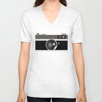 vintage camera V-neck T-shirts featuring Camera by LeahOwen