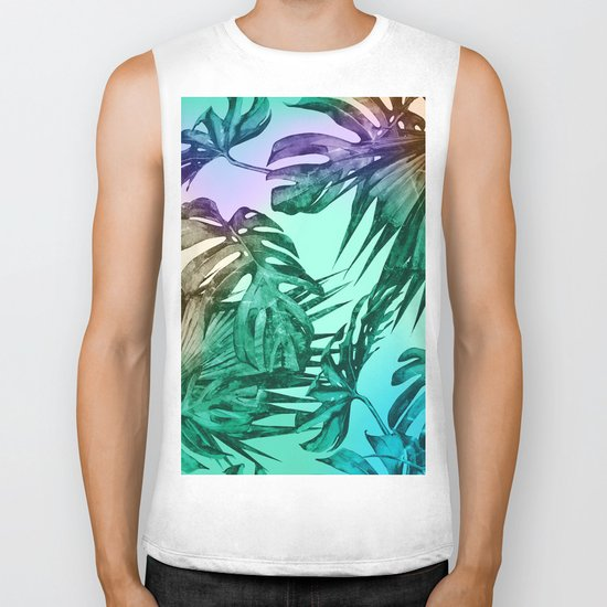 Simply Palm Leaves in Hologram Island Green Biker Tank