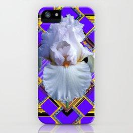 ART DECO WHITE IRIS PURPLE ART iPhone Case