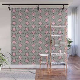 Stars pattern pink on grey Wall Mural