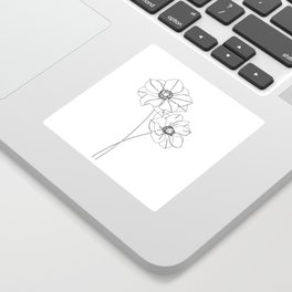 Botanical illustration line drawing - Anemones Sticker