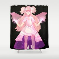 madoka Shower Curtains featuring Puella Magi Madoka Magica - Madoka Kaname (Goddess Form) Pillow by iscottart