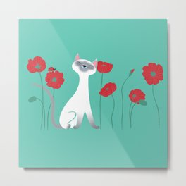 Siamese & Poppies Metal Print