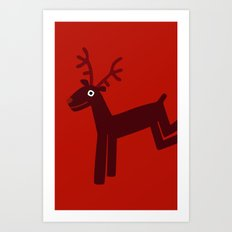 Reindeer-Red Art Print