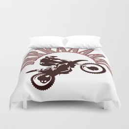 Brrraaaaap Red Checkered Flag Moto Language Duvet Cover