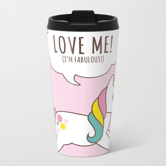 Valentine's Day - Love Me Unicorn Metal Travel Mug