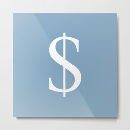 dollar sign on placid blue color background Metal Print