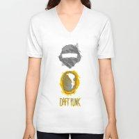 daft punk V-neck T-shirts featuring Daft Punk by Burcu Aycan