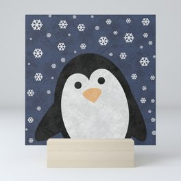 Christmas Penguin Marble Mini Art Print