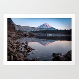 Mt. Fuji with a Touch of Rose Art Print