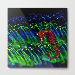 Electric Seahorse Metal Print