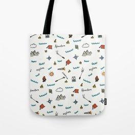 Adventure Pattern | Camping Pattern | Hiking Pattern | Hand Drawn Outdoors Pattern Tote Bag